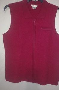 Talbots Fushia Wool Vest Size Small
